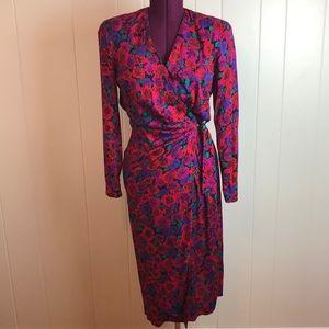 Vintage 80s/90s Multicolored Wrap Wiggle Dress